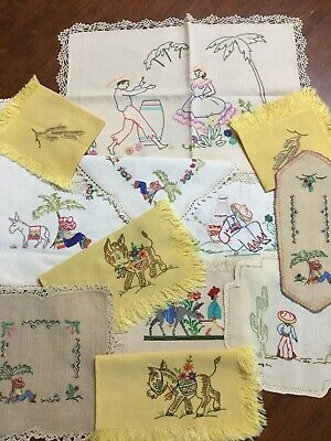 Vintage Mixed Hand Embroidered Doilies - Donkeys- Mexican Cactus Centre Pieces