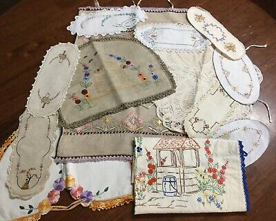 Vintage Hand Embroidered Linen- Apron - Toast Covers - Tray Cloths - Battenburg