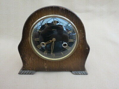 Small Vintage Smiths Enfield Black Dial Striking Mantel Clock For Tlc