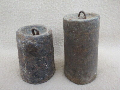 Pair Of Antique Cast Iron Ogee Clock Weights