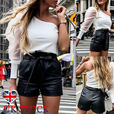 Women Wet Look Leather Shorts High Waist Bow Belted Casual Hot Pants Clubwear