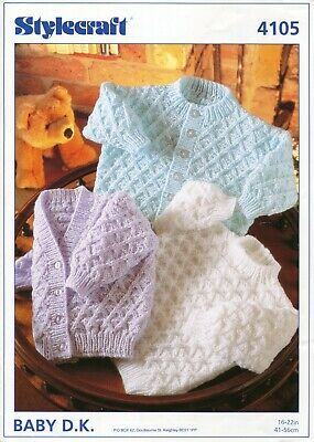 "Stylecraft 4105 Baby Cardigans Sweater DK 16-22"" Vintage Knitting Pattern"