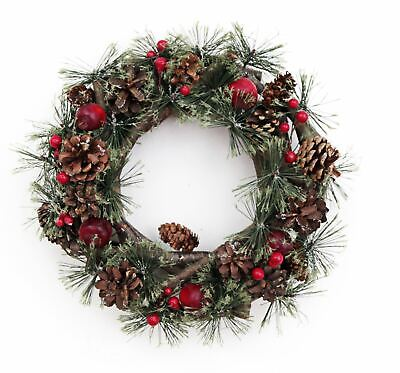 Round Pine Cone & Red Berries Rustic Christmas Wreath 30cm