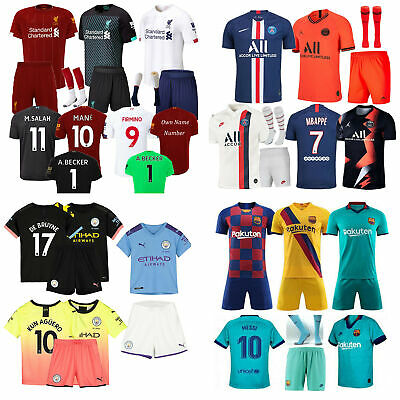 19 /20 Football 3-14 Years Soccer Short Sleeve Kids Boys Jersey Kit + Socks NEW