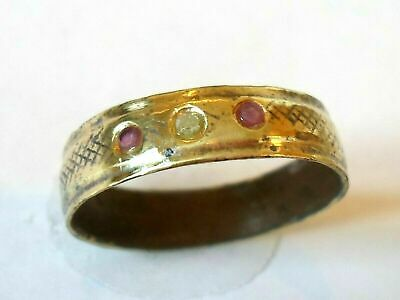 X-Mas Gifts,Detector Find1300-1500 A.d Medieval Wedding Ring With Diamond Rubies
