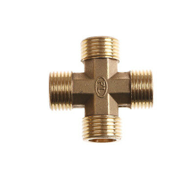 """1/2"""" BSP Male Thread 4 Way Brass Cross Pipe Fitting Adapter Coupler Connector WD"""