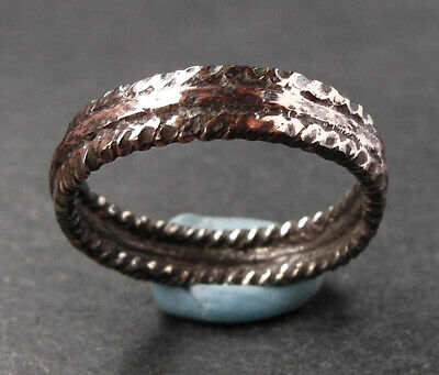 RARE GENUINE ANCIENT EARLY MEDIEVAL/VIKING SILVER & BRONZE RING  - wearable