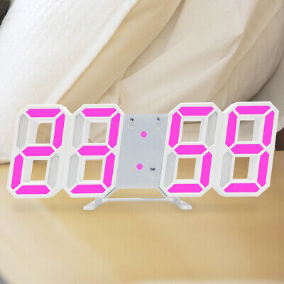 LED Digital Alarm Clock Desk Table Wall Snooze Alarm Timer 3D Display 12/24H