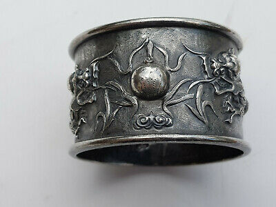 Antique Silver Napkin Ring Finest Repousse Work Flaming Pearl And Dragons China