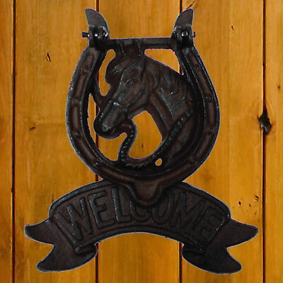 WELCOME Horse Shoe Cast Iron Door Knocker Western Rustic Antique Style Knock