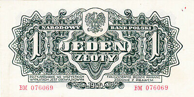 1 Zloty Ef Banknote From Poland 1944 Pick-108 Russian Red Army Issued