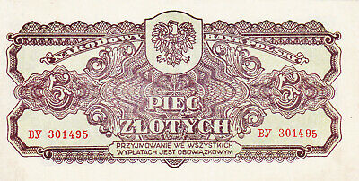 5 Zlotych Vf Banknote From Poland 1944 Pick-110 Russian Red Army Issued
