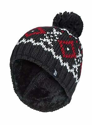 HEAT HOLDERS - Mens Chunky Knit Fleece Lined Thermal Winter Warm Beanie Bobble H