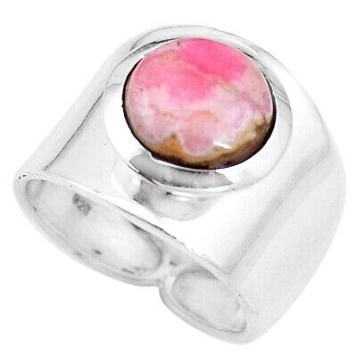 Natural Pink Rhodochrosite Inca Rose 925 Silver Solitaire Ring Size 9.5 P17328