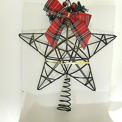 """Black Metal Star Tree Topper Ribbon, Pinecone, Berries Contemporary  """"New"""" 8.75"""""""