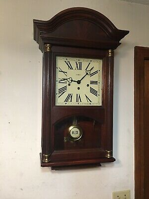 Howard Miller Mahogany Triple Chime Wall Clock Westminster St Michaels 612-224
