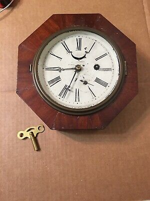 Rare Antique J C Brown Forestville Jeweled Marines Octagon Wall Clock