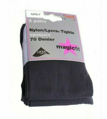 MAGICFIT 2 Pairs Grey Teens Nylon/Lycra 70 Denier Tights New with tags