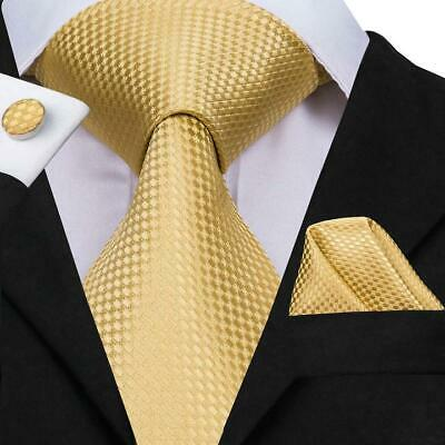 Classic Yellow Plaids&Checks Mens Tie Necktie Silk Jacquard Woven Set Wedding
