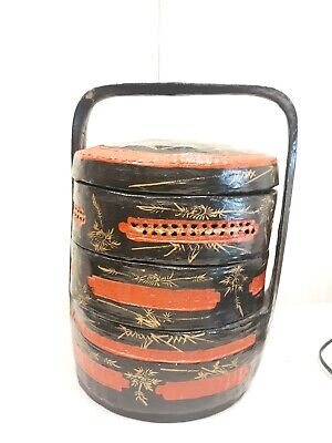 """18"""" Red ~ Black ~ Gold Chinese Lacquer Wood Bamboo Wedding Basket *3 Tier"""