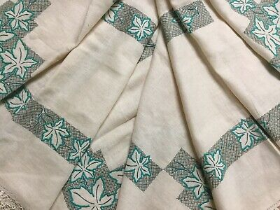 Vintage Linen Cotton Cross Stitch Embroidered Tablecloth - Leaf Pattern