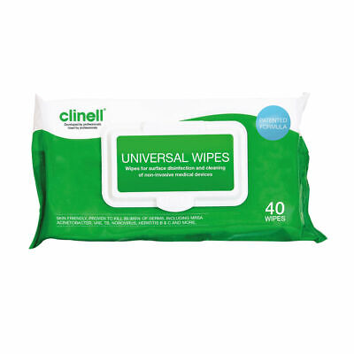 NEW! Clinell Universal Sanitising Wipes 40 Sheets Pack of 24 GCW40