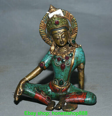 "7"" Nepal Copper Silver Turquoise Gems Temple Seat White Tara Goddess Statue"