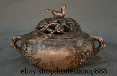 "6"" Marked Old Chinese Silver Dynasty Flower Bird Tree Handle Incense Burners"