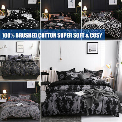 Pintuck Duvet Set 100% Cotton Quilt Cover Single Double Super King Size Bedding