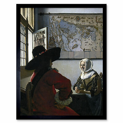 Johannes Vermeer Officer Laughing Girl Painting Wall Art Print Framed 12x16