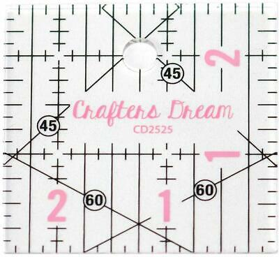 """Crafters Dream Transparent Quilting & Patchwork Ruler Template 2.5 x 2.5"""" CD2525"""