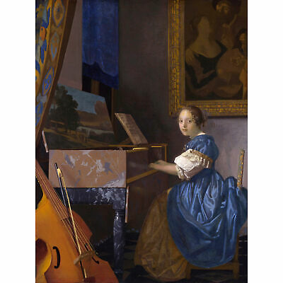 Johannes Vermeer Young Woman Seated At Virginal Painting Large Art Print 18X24