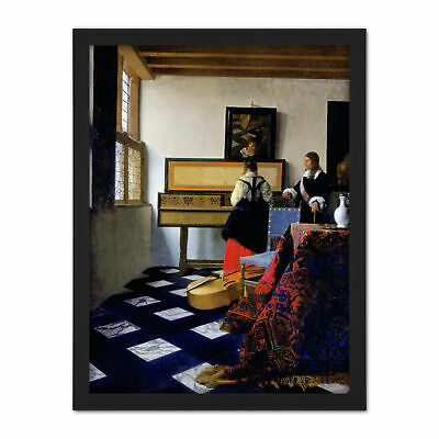Johannes Vermeer The Music Lesson Painting Framed Wall Art Print 18X24 In