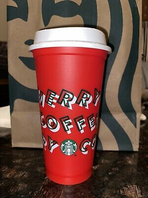 2019 Starbucks RED Merry Coffee Christmas 16oz- Limited Edition Reusable Hot Cup