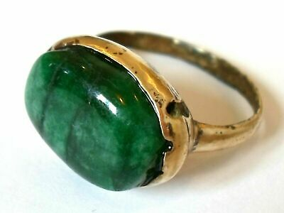 X-MAS GIFTS,DETECTOR FIND,200-400 A.D ROMAN BRONZE RING WITH 8 ct REAL EMERALD