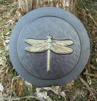 """Plastic dragonfly stepping stone mold 8"""" x 1.20"""" thick plaster concrete resin"""