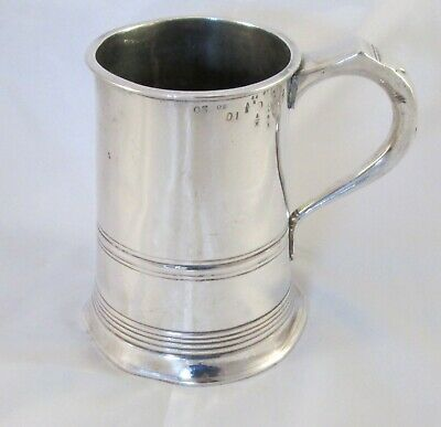 A Good Silver Plated Quart Tankard c1840