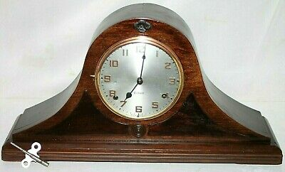 Antique Carved Mahogany Gilbert 1920'S Tambour Mantel Clock W/ Cathedral Strike.
