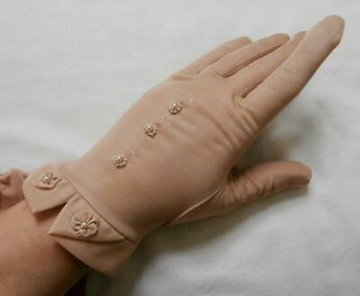 BN Vintage 1950's Beige Silky Nylon Beaded Gloves Size 7, Medium, Narrow Fit