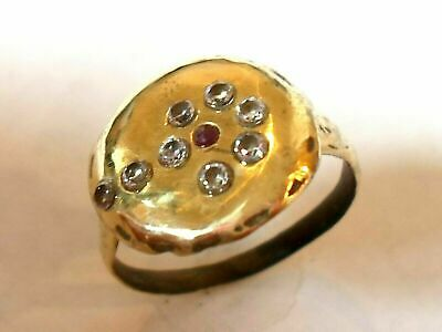 X-Mas Gifts,Detector Find & Polished,200-400 A.d Roman Ae Ring With Real Ruby &