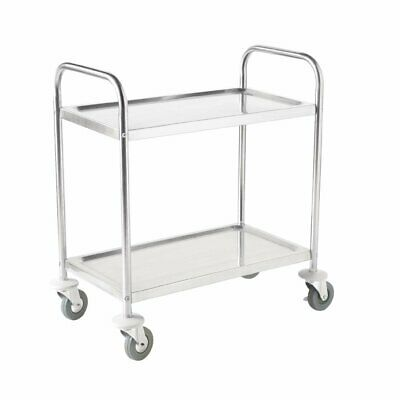 Vogue Stainless Steel 2 Tier Clearing Trolley Small 825 x 710 x 405mm - F996
