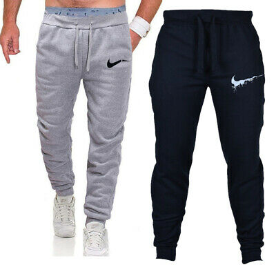 Mens Tracksuit Trousers Bottoms Jogging Jogger Running Fitness Logo Long Pants