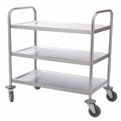 Vogue Stainless Steel 3 Tier Clearing Trolley Small  825 x 710 x 405mm - F993
