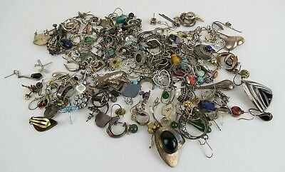 310 grams sterling silver individual earrings solo over 100 pc  turquoise etc