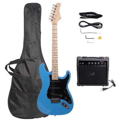 "GLARRY 39"" Full Size Electric Guitar with 20W Amp and Accessories Pack Bag Blue"