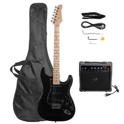 GLARRY Full Size Electric Guitar with 20W Amp and Accessories Pack Bag Black
