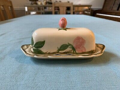 Vintage Franciscan China Ware Desert Rose Butter Dish Made in Calif USA