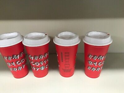 New Starbucks Holiday Christmas 2019 Red Reusable Cup w/ Lid - Set Of 4