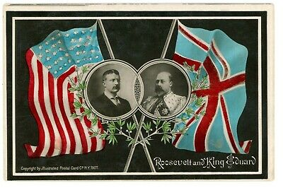Political -THEODORE ROOSEVELT MEETING W/ KING EDWARD- Hand Colored Postcard