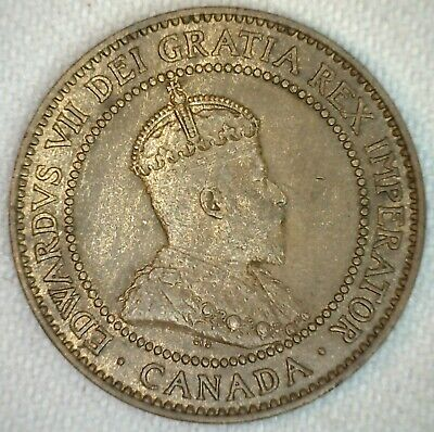 1910 Canada UNC Large Cent Coin 1c Canadian Bronze Penny One Cent Uncirculated